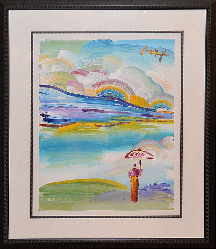 Peter Max  (American born 1937) Acrylic on Paper, Sage with Umbrella III-Ver.I#2, ca. 2000, 30in. x 22-1/4in.