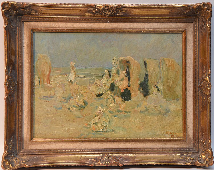 Maurice Martin (1894-1978) oil on board, Seascape/beach scene, 10in. x 14in.