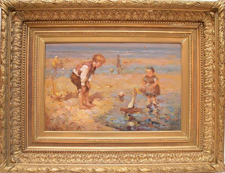 JEAN LEFORT (French. Born 1948) Beach Scene, oil on board, 14in. x 20in.