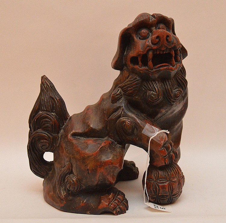 Antique Carved Wood Chinese Foo Dog.  Ht. 12 1/2
