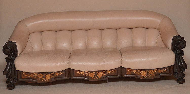 Victorian Carved & Inlaid Sofa with leather upholstery. Ht. 31