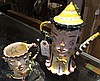 2 whimsical ceramic pieces, pitcher and cup