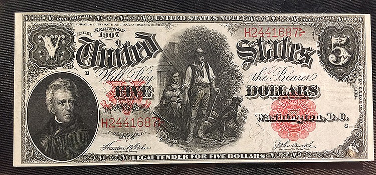 Framed United States, 5 Dollars Series, 1907, bill measures 5