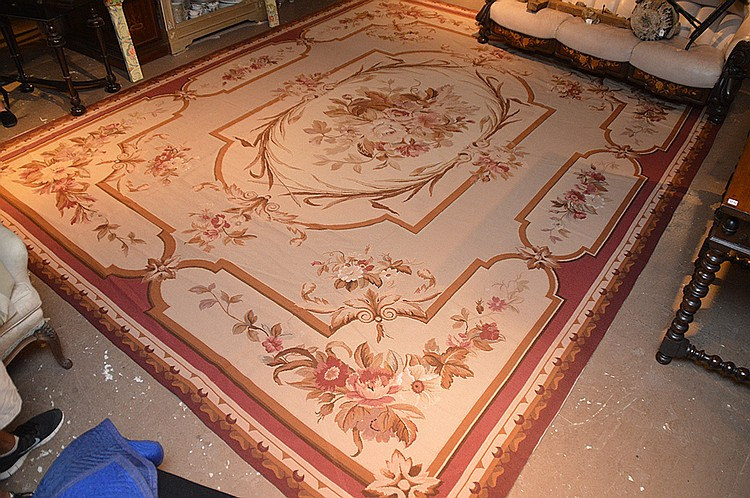 Aubosson carpet central floral medaliaon on beige backround with browns, olives and wine colors , 15feet x 12feet