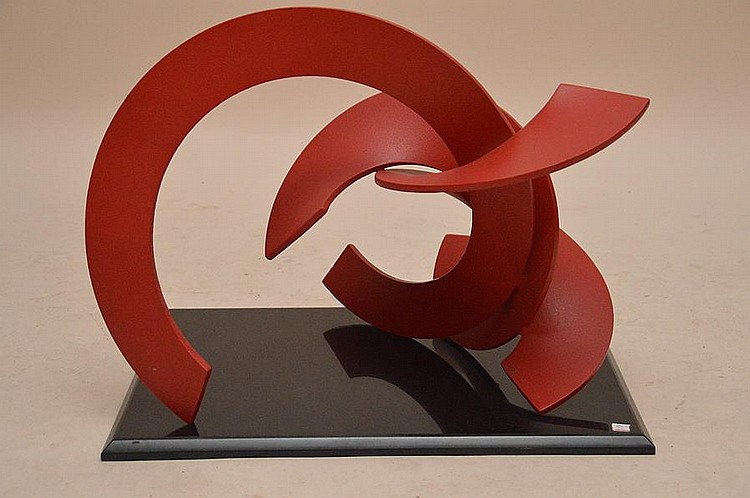 Obie Simonis '83 Red Modern Iron Sculpture, 18in. Tall x 25in. Wide