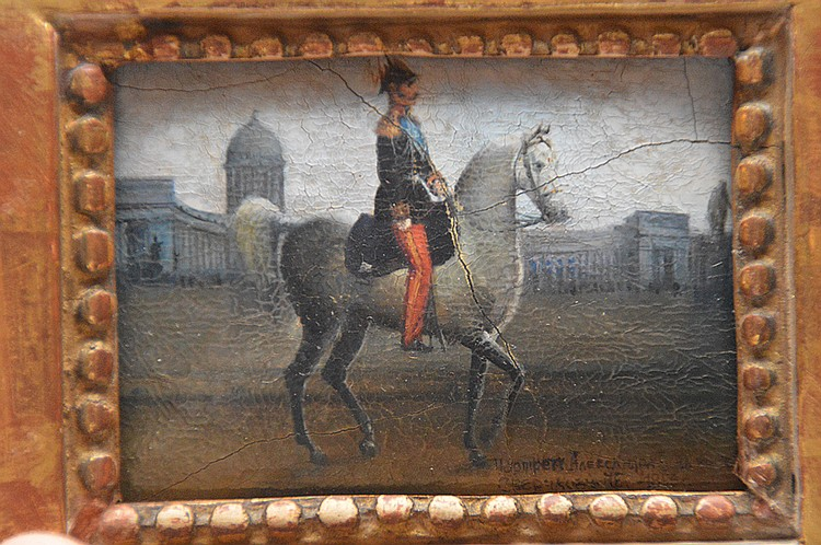 Paper mache painting, Russian military presentation plaque