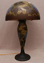 Lamp, after Galle, mushroom shade, 25 1/2