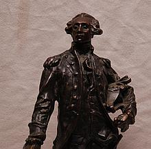Vintage bronze figure of Lafayette, by Dalou, 14
