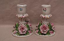 Pair Herend floral candleholders with roses at
