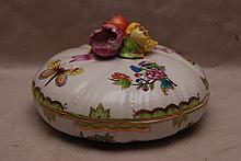 Herend covered candy dish with tri floral finial,