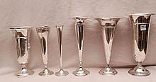 6 assorted sterling trumpet shape weighted vases