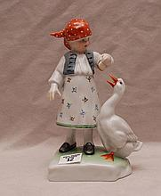 Herend child with duck, 7 1/4