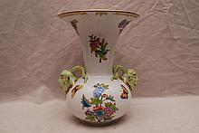 Herend vase with flare rim and 2 ram's heads,