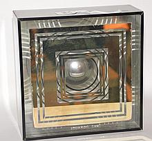 """EDUARDO SANZ (SPANISH, B.1928), GLASS & ALUMINUM FRAMED ABSTRACT. Ht. 10"""" W. 10"""" D. 4"""". With gallery and artist provenance on the back."""