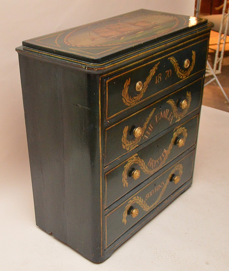 Painted 4 drawer chest with seaman motif 19th c for Seamans furniture
