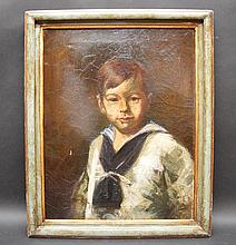 """LOUIS BETTS (AMER. 1873-1961) OIL A charming oil on canvas portrait of a little boy dressed in a sailor boy outfit, painted by the renowned American artist Louis L. Betts; 22"""" x 17"""", signed lower left."""