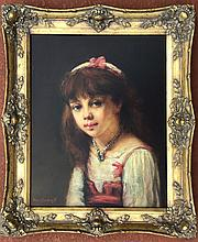 Attributed to: Harlamoff RUSSIAN oil painting, portrait young girl