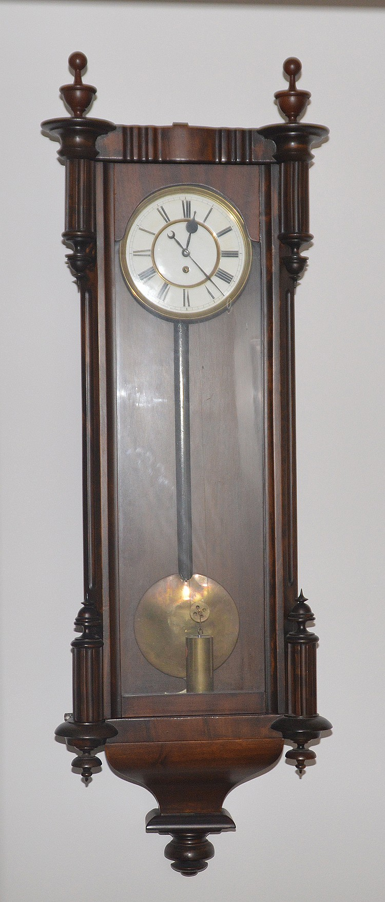 Regulator wall clock with one weight movement in carved maho