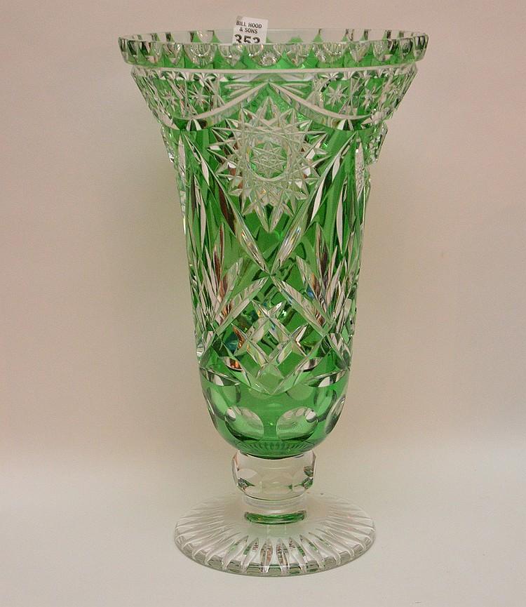 large green cut to clear glass vase ht 14 1 2. Black Bedroom Furniture Sets. Home Design Ideas