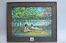 Philip Corley (America b. 1944) oil on board, Nudes, 9 x 12 inches