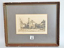 Charles Frederick William Mielatz (AMERICAN, 1864-1919) Etching New England Fish Market, pencil signed, images size 4-1/4 x 7-1/2 inches overall size 14-1/2 x 12 inches