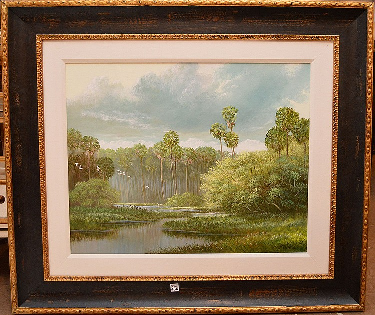 ROBERT BUTLER FLORIDA HIGHWAYMEN - WETLAND SCENE Large Florida Landscape, oil on canvas by Florida Highwaymen artist Robert Butler (American, b. 1943). Signed & dated '80 lower right, 24
