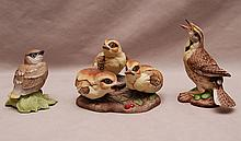 3 Boehm porcelain birds, incl; Baby Cedar Waxwing #432, Baby Grouse #400-68 and Meadowlark #40298 (hand signed Helen Boehm)