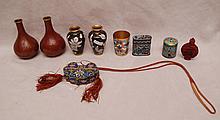 9 Cloisonné pieces, incl; pair of vases (4