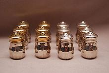 12 Wallace sterling salt and pepper shakers, 2ozt