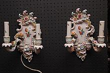 Pair German porcelain wall sconces, double branch (some roughage)