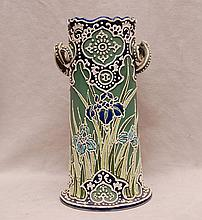 Cylindrical oriental style vase with handles, 11 1/2