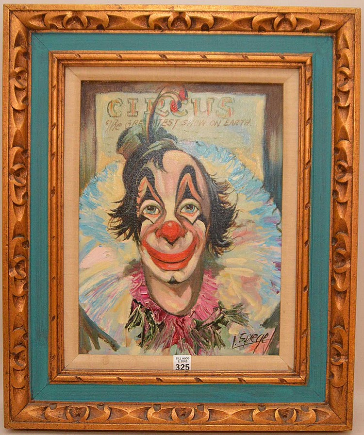 "LOUIS SPIEGEL, American 1901-1975), ""A Circus Clown"", oil on artist's board               16"" x 12"", signed lower right, framed."