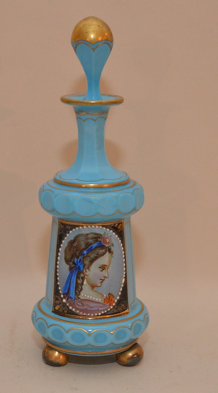 Opaline blue perfume bottle with hand painted portrait 8 7 Painting old glass bottles