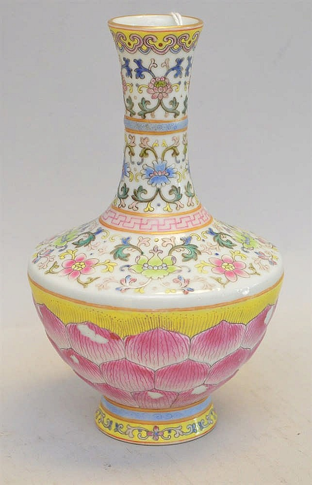 Chinese Porcelain Bud Vase With Lotus Flower Base Rising To