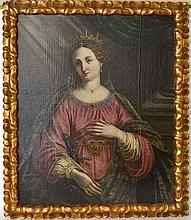 Studio of: Jacopo (da Empoli) Chimenti (ITALIAN, BORN CIRCA 1554–1640) oil on canvas, Saint Catherine of Alexandria, 41 x 32-1/4 inches