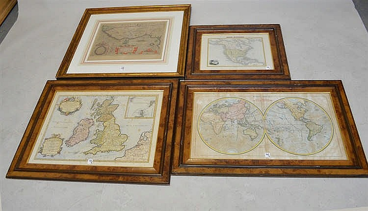 Four Antique Maps In Burl Walnut Frames 24 X 32 Foxing Throughout
