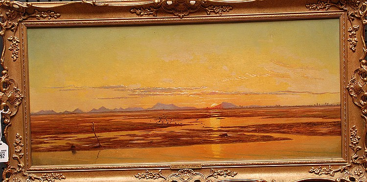 Henry Darvall  (United Kingdom,- 1889) oil on canvas, Sunset on the marshes approx. canvas size 12.5