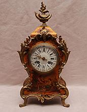 Hand painted French shelf clock with gilt metal accents, 14 1/2