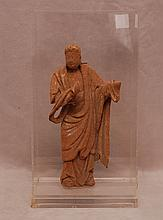 Ancient clay/terracotta Chinese Sculpture, missing hand, Lucite case, 10 1/2