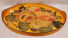 Decoupage oval tray with leaf, bee and butterfly motif, 20th c.