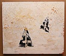 """Paolo Ricci (1908-1986). Mixed media oil on masonite. """"Sailing Expressions"""". Signed LL. Also on back P. Ricci, Firenze. 36"""" x 43"""""""