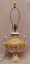 Dresden porcelain hand painted floral lamp with 2 mask handles, 17