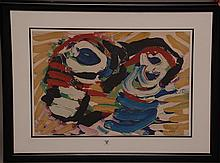 Appel Karel, 1921-2006.(Netherlands). Colored Lithograph on Arches paper. Signed in pencil & numbered 152/160. Also noted verso: Komposition 76, Litografi i Farver. Apprx: 21. 4/8