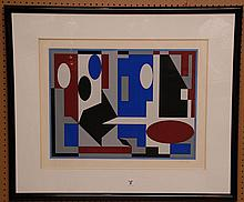 Victor Vasarely (French/Hungarian, 1906-1997) Abstract Lithograph, pencil signed Vasarely (lower right) numbered 26/250,  sight 29
