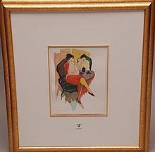 Itzchak (Isaac) Tarkay  (Israel 1935 - 2012) Watercolor, women at café, 12