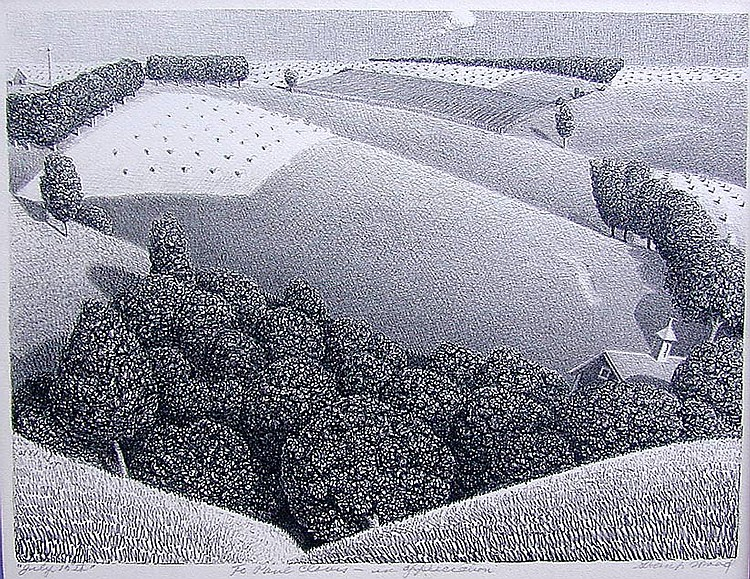 GRANT WOOD (Amer 1891-1942) 'July 15th 1938' lithographA fin