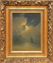 Attributed to: Lev Felixovich Lagorio (RUSSIAN, 1827-1905) oil on canvas, moonlit seascape,