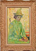 Luigi Corbellini (ITALIAN, 1901-1968) oil on canvas, Harlequin, Manhattan galleries label, 24inches x 15inches