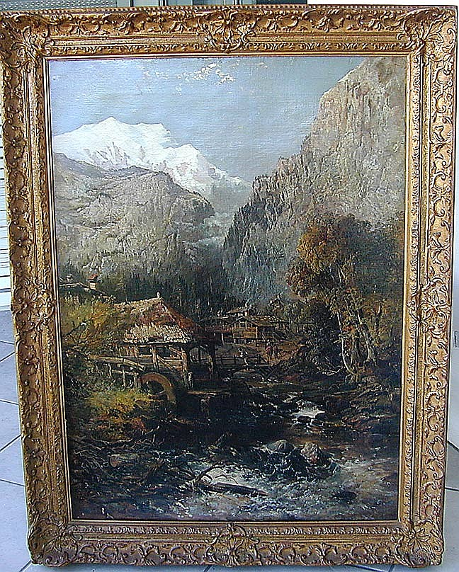 Charles Branwhite (English 1817-1880) Snowy Mountain Mill OilProbably painted in northern Wales and depicting an old mill with men working along a stream with a snowy mountain peak in the background; signed with initials and dated 1848 on a log