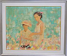 Unsigned Jen Pang (born 1928) Florida painter, oil on canvas, girls in flower garden, 32 x 40 inches